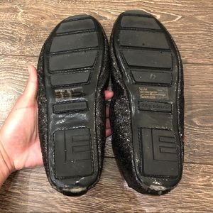 libby. edelman Shoes - Libby Edelman Black Glitter Smoking Slippers